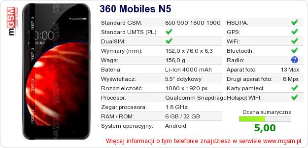 Dane telefonu 360 Mobiles N5