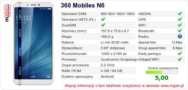 Dane telefonu 360 Mobiles N6