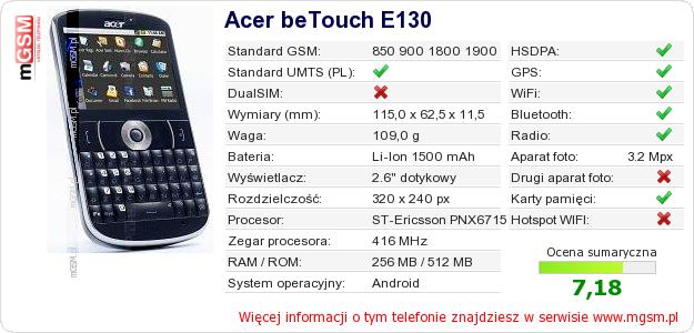 Dane telefonu Acer beTouch E130