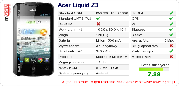 Dane telefonu Acer Liquid Z3