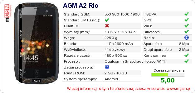 Dane telefonu AGM A2 Rio