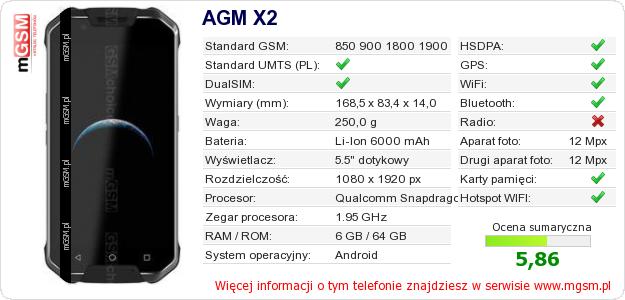 Dane telefonu AGM X2