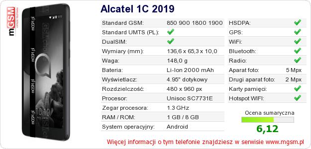 Dane telefonu Alcatel 1C 2019