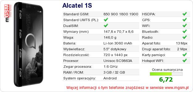 Dane telefonu Alcatel 1S