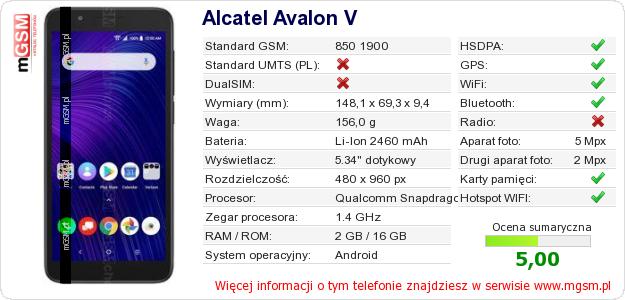 Dane telefonu Alcatel Avalon V