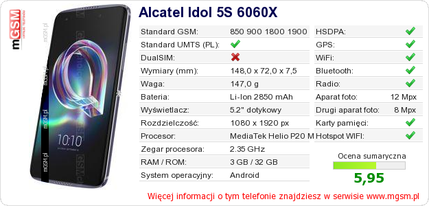 Dane telefonu Alcatel Idol 5S 6060X