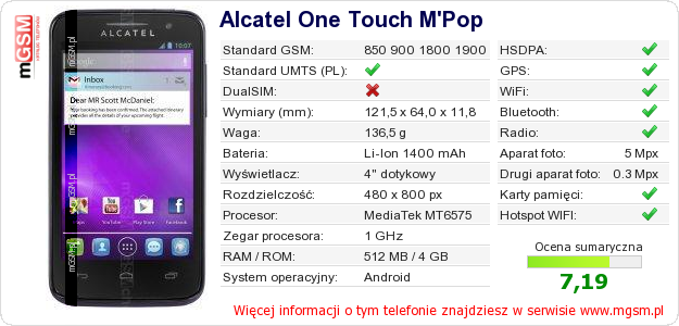 Dane telefonu Alcatel One Touch M