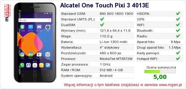 Dane telefonu Alcatel One Touch Pixi 3 4013E