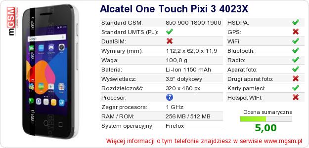 Dane telefonu Alcatel One Touch Pixi 3 4023X