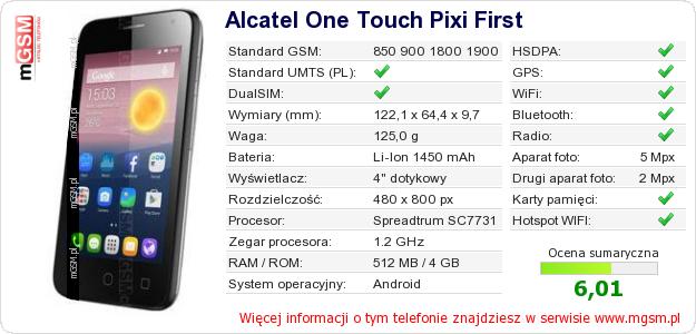 Dane telefonu Alcatel One Touch Pixi First