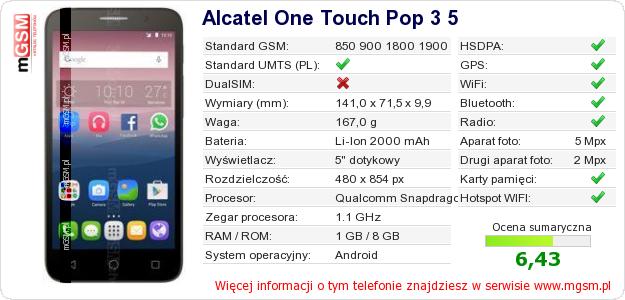 Dane telefonu Alcatel One Touch Pop 3 5