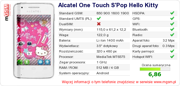 Dane telefonu Alcatel One Touch S