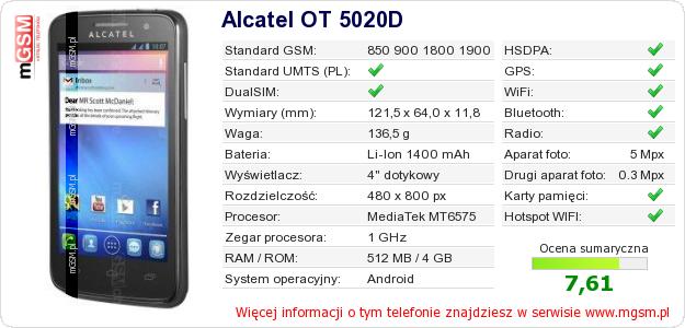 Dane telefonu Alcatel OT 5020D