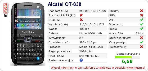Dane telefonu Alcatel OT-838