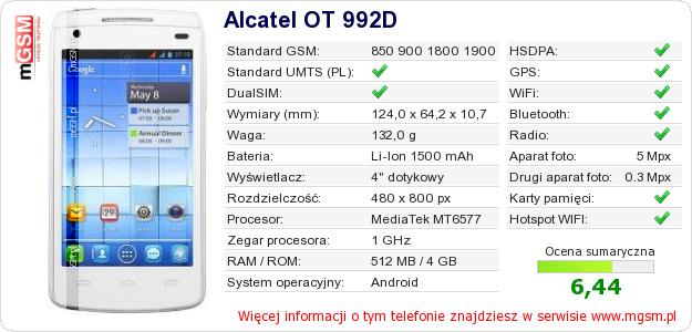 Dane telefonu Alcatel OT 992D