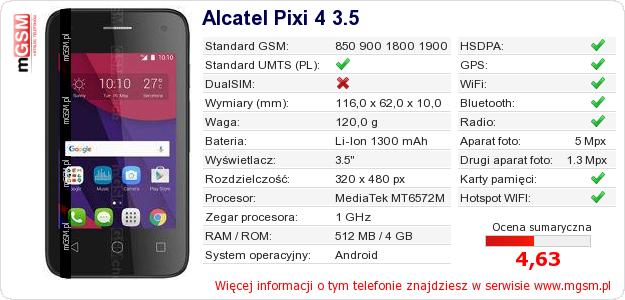 Dane telefonu Alcatel Pixi 4 3.5