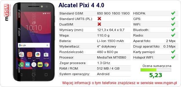 Dane telefonu Alcatel Pixi 4 4.0