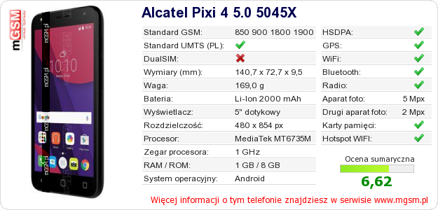 Dane telefonu Alcatel Pixi 4 5.0 5045X