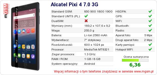 Dane telefonu Alcatel Pixi 4 7.0 3G