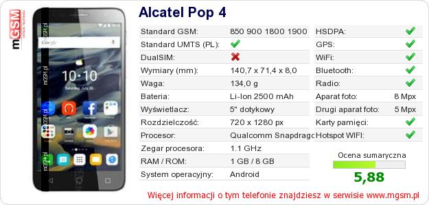 Dane telefonu Alcatel Pop 4