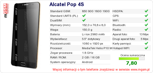 Dane telefonu Alcatel Pop 4S