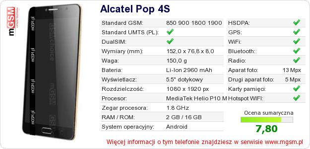 Dane telefonu Alcatel Pop 4S