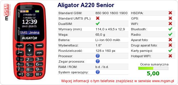 Dane telefonu Aligator A220 Senior