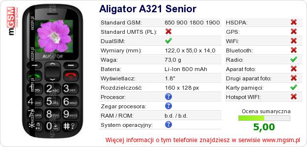 Dane telefonu Aligator A321 Senior