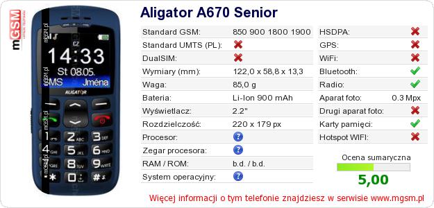 Dane telefonu Aligator A670 Senior
