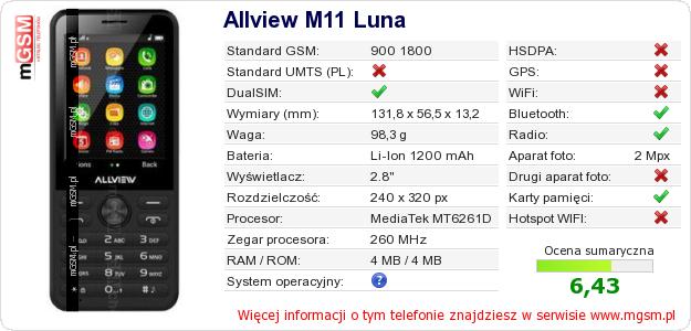 Dane telefonu Allview M11 Luna