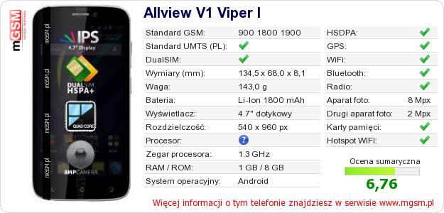 Dane telefonu Allview V1 Viper I
