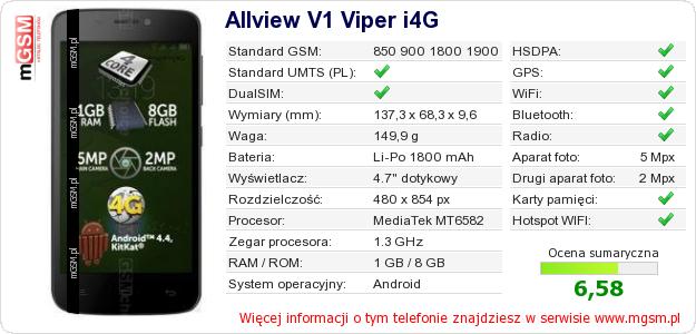 Dane telefonu Allview V1 Viper i4G