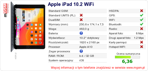 Dane telefonu Apple iPad 10.2 WiFi
