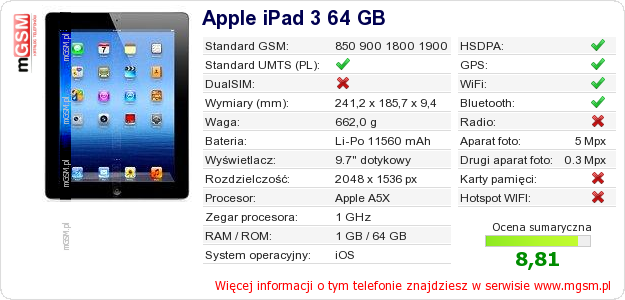 Dane telefonu Apple iPad 3 64 GB