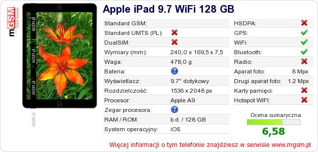 Dane telefonu Apple iPad 9.7 WiFi 128 GB