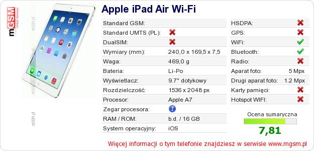 Dane telefonu Apple iPad Air Wi-Fi