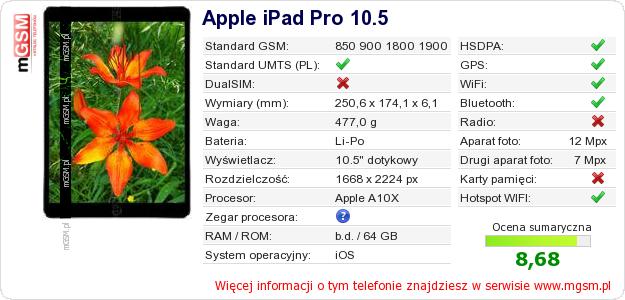 Dane telefonu Apple iPad Pro 10.5
