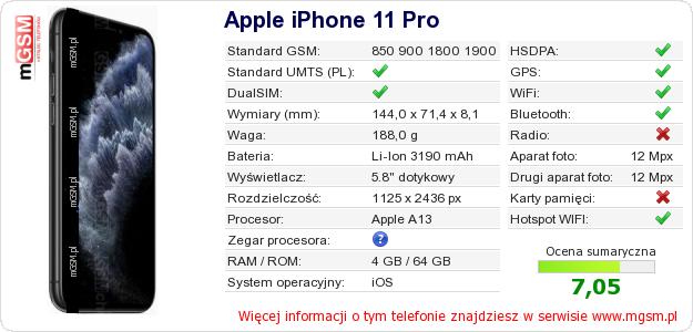 Dane telefonu Apple iPhone 11 Pro