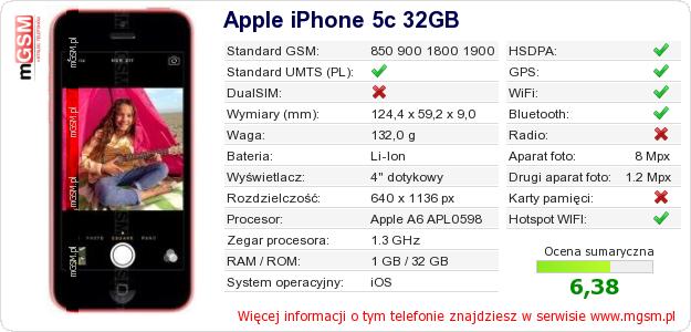 Dane telefonu Apple iPhone 5c 32GB