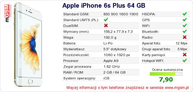 Dane telefonu Apple iPhone 6s Plus 64 GB
