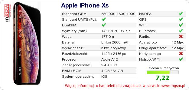 Dane telefonu Apple iPhone Xs