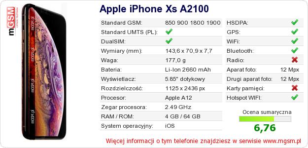 Dane telefonu Apple iPhone Xs A2100