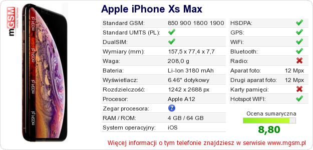 Dane telefonu Apple iPhone Xs Max