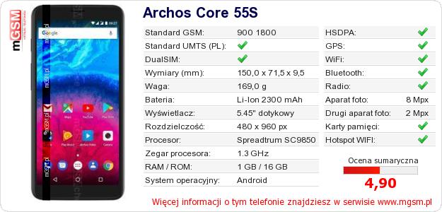 Dane telefonu Archos Core 55S