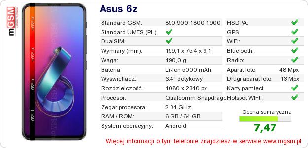 Dane telefonu Asus 6z