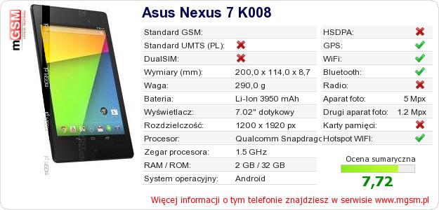 Dane telefonu Asus Nexus 7 K008