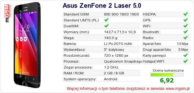 Dane telefonu Asus ZenFone 2 Laser 5.0