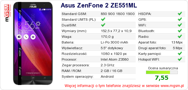 Dane telefonu Asus ZenFone 2 ZE551ML