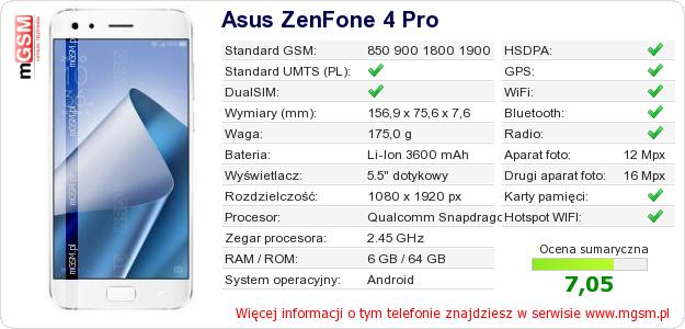 Dane telefonu Asus ZenFone 4 Pro