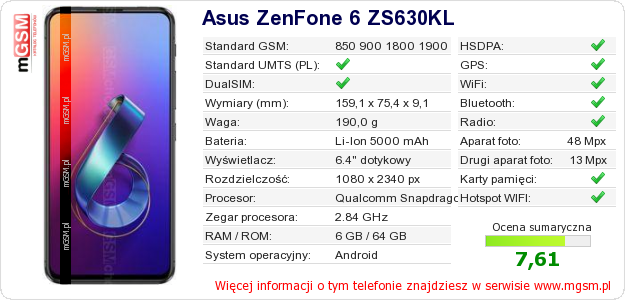Dane telefonu Asus ZenFone 6 ZS630KL